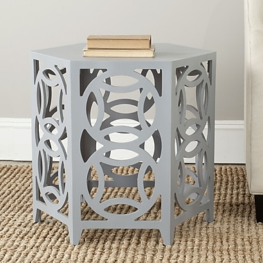 World Menagerie Livingston End Table; Pearl Blue Grey