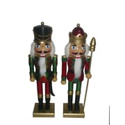 Santa's Workshop 2 Piece Metallic Christmas Nutcracker Set