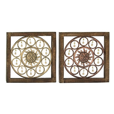 Cole & Grey 2 Piece Wood and Metal Wall D cor Set (Set of 2)