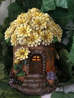 Hi-Line Gift Ltd. House w/ Floral Roof Fairy Garden