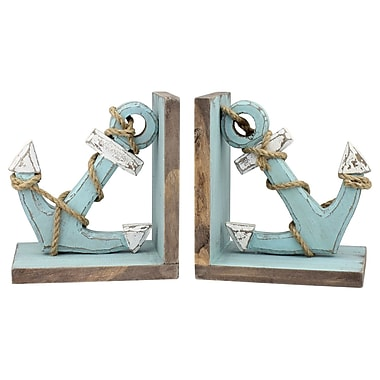 Breakwater Bay Wood Anchor Book End (Set of 2)