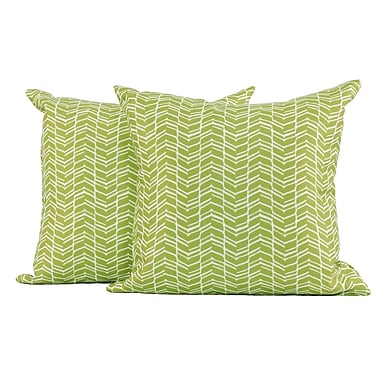LJ Home Classic Chevron Geometric Print Square Lounge Chair Cushion (Set of 2); Green/White