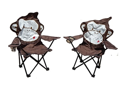 Zoomie Kids Marcus Monkey Folding Camping Kids Chair w/ Cup Holder (Set of 2) WYF078281795849
