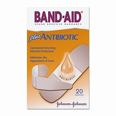 JOHNSON & JOHNSON Antibiotic Adhesive Bandages, Assorted Sizes, 20 per Box WYF078277513587