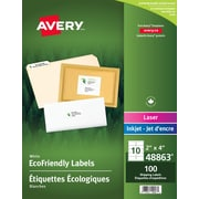 "Avery EcoFriendly White Laser/Inkjet Mailing Labels, 2"" x 4"" , 100/Pack"