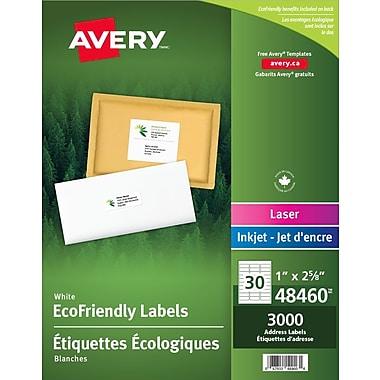Avery® 48460 Étiquettes d'adresse écologiques Easy Peel, blanches, laser/jet d'encre, 2-5/8