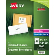 "Avery Eco-Friendly White Laser/Inkjet Address Labels, 2-5/8"" x 1"", 3,000/Pack, (48460)"