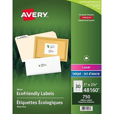 Avery® 48160 Étiquettes d'adresse écologiques Easy Peel, blanches, laser/jet d'encre, 2-5/8