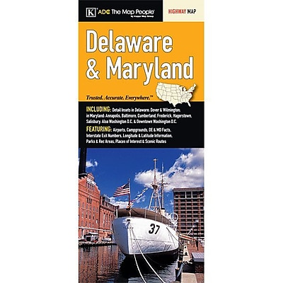 Universal Map Delaware/Maryland Large Print Fold Map WYF078277167339