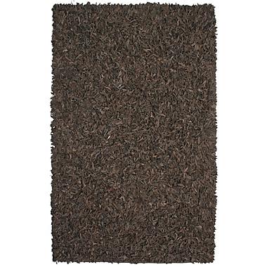 Ebern Designs Baum Leather Dark Brown Area Rug; Rectangle 4' x 6'