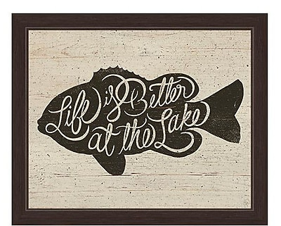 Loon Peak 'Life is Better at the Lake Fish' Framed Painting Print; 11'' H x 13'' W x 1'' D