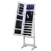Ivy Bronx Bohr Floor Standing Jewelry Armoire w/ Mirror and LED Light; White