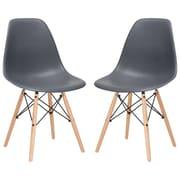 Ivy Bronx Boisvert Solid Wood Dining Chair (Set of 2); Grey