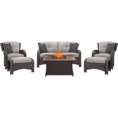 Brayden Studio Billington 6 Piece Fire Pit Lounge Seating Group w/ Cushions; Silver
