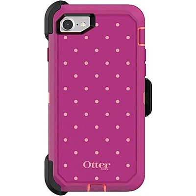 OtterBox Defender Carrying Case with Holster for iPhone 7 and iPhone 8, Coral Dot (77-56609)