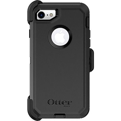 OtterBox Defender Carrying Case with Holster for iPhone 7 and iPhone 8, Black (77-56603)