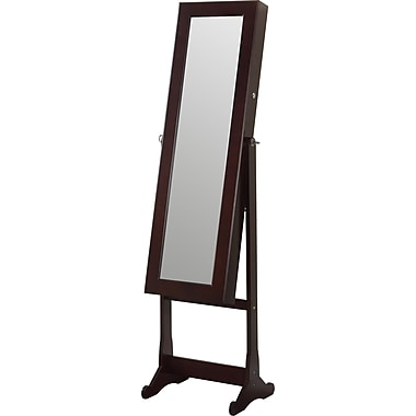 Ivy Bronx Bohr Floor Standing Jewelry Armoire w/ Mirror and LED Light; Walnut
