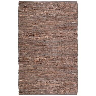 Latitude Run Sandford Leather Chindi Brown Area Rug; 9' x 12'