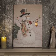 The Holiday Aisle 'Country Snowman' Print on Wrapped Canvas w/ LED Lights