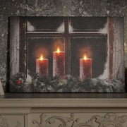 The Holiday Aisle 'Three Candles' Print on Wrapped Canvas w/ LED Lights
