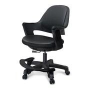 Zoomie Kids Alfreda Kids Chair; Leather - Piano Black