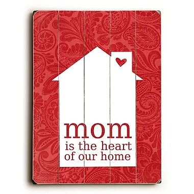 August Grove Mom Is the Heart Wooden Wall D cor; 24'' H x 18'' W x 0.75'' D