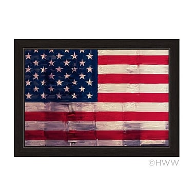 Charlton Home 'Textured American Flag' Framed Graphic Art; 27'' H x 19'' W x 1'' D