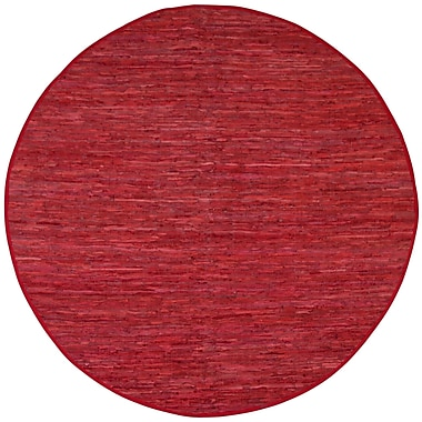Latitude Run Sandford Red Leather Chindi Rug; Round 8'