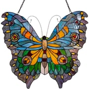 August Grove Swallowtail Butterfly Tiffany Style Stained Glass Window Panel