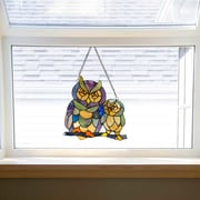 August Grove Friendly Owls Tiffany Style Stained Glass Window Panel