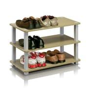 Ebern Designs 3-Tier Shoe Rack; Steam beech / White