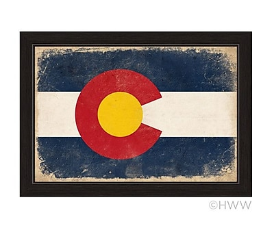 Union Rustic 'State of Colorado Flag' Framed Painting Print; 14'' H x 17'' W x 1'' D