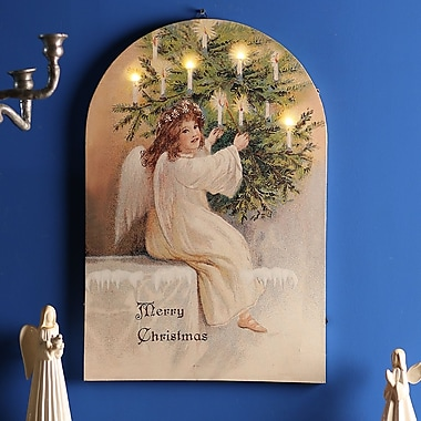 The Holiday Aisle 'Angel' Print on Wrapped Canvas w/ LED Light