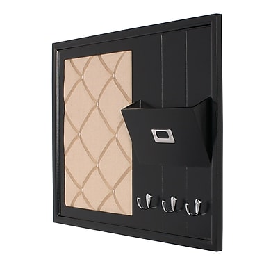 Rebrilliant Decorative Wood Home Organizer Fabric Pinboard; Black