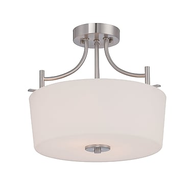 Alcott Hill Naugatuck 2-Light Semi Flush Mount; Satin Platinum