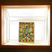 Astoria Grand Fleur de Lis Tiffany Style Stained Glass Window Panel