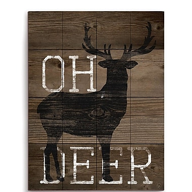 Union Rustic 'Oh Deer' Graphic Art Plaque; 12'' H x 9'' W x 1'' D