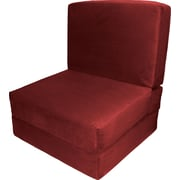 Ebern Designs Bator Convertible Chair; Suede Cardinal Red