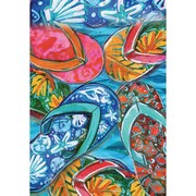 DicksonsInc Colorful Flip Flops Nautical Shells and Fish 2-Sided Garden Flag