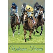 DicksonsInc Welcome Friends Derby Race Day 2-Sided Garden Flag