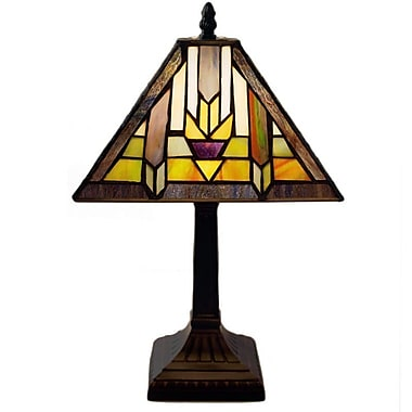 Loon Peak Junie Mission Style Stained Glass 15.25'' Table Lamp