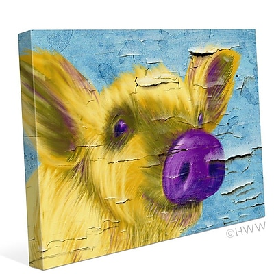 August Grove 'Purple Nose Pig' Painting Print on Wrapped Canvas; 16'' H x 20'' W x 1'' D