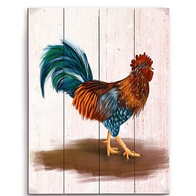 August Grove 'Painted Rooster' Painting Print Plaque; 20'' H x 16'' W x 1'' D