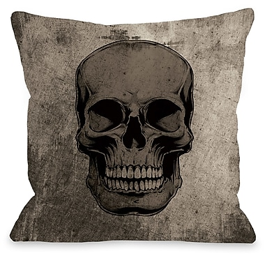 The Holiday Aisle Skull Grunge Throw Pillow; 18'' H x 18'' W x 3'' D