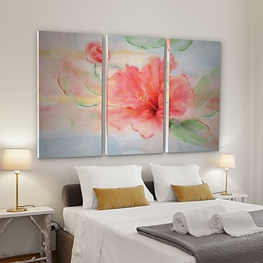 Bay Isle Home 'Hibiscus' Acrylic Painting Print Multi-Piece Image on Wrapped Canvas; 40'' H x 60'' W