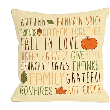 The Holiday Aisle Harvest Word Collage Throw Pillow; 18'' H x 18'' W x 3'' D