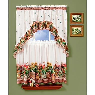 August Grove Dodd 57'' Valance and Tier Set; 36'' H x 57'' W x 2'' D