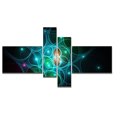 East Urban Home 'Light Blue Fractal Space Circles' Graphic Art Print Multi-Piece Image on Canvas