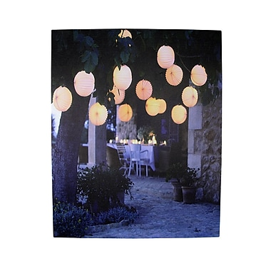 Ebern Designs '8 LED Lighted Garden Party' Photographic Print on Canvas