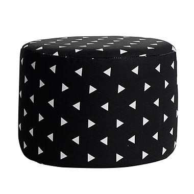 Harriet Bee Tyonna Triangle Cotton Accent Stool; Black